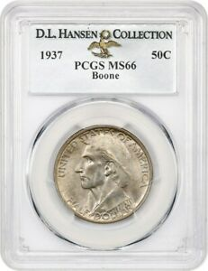 1937 BOONE 50C PCGS MS66 EX: D.L. HANSEN   LOW MINTAGE ISSUE   LOW MINTAGE ISSUE