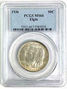1936 NO MINT MARK ELGIN COMMEMORATIVE HALF DOLLAR PCGS MS66