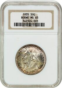 1935 BOONE 50C NGC MS65   LOW MINTAGE ISSUE   SILVER CLASSIC COMMEMORATIVE