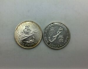 Click now to see the BUY IT NOW Price! 1959 BERMUDA CROWN SILVER KM13 & 1972 BERMUDA SILVER $ KM22 CHOICE COINS