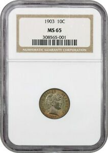 1903 10C NGC MS65   PRETTY TONING   BARBER DIME   PRETTY TONING