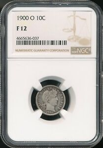 1900 O BARBER DIME NGC F 12  STONE COLD ORIGINAL   BETTER DATE