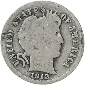 1912 D BARBER DIME 90  SILVER ABOUT GOOD AG