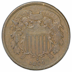 1864 2C TWO CENT PIECE   MINT ERROR ROTATED REVERSE 180 DEGREE   SKU Y1273
