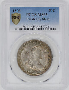1806 DRAPED BUST 50C PCGS MS 65