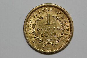 1851 P GRADES AU $1 US PRE 1933 GOLD ONE DOLLAR COIN  GOLD744