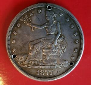 1877 S TRADE SILVER DOLLAR $1  CIRCULATED KEY DATE COIN HOLED
