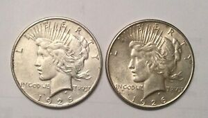 Click now to see the BUY IT NOW Price! 1926D & S PEACE  SILVER DOLLAR 2 COIN LOT OF DECENT GRADE COINS SOME LUSTRE