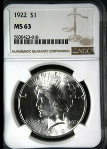 :1922 P $1 SILVER PEACE DOLLAR FROSTY LUSTER NGC CHOICE BU MS 63 HIGHEST GRADES