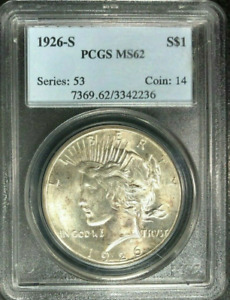 :1926 S $1 SILVER PEACE DOLLAR FROSTY LUSTER PCGS NEAR CHOICE MS 62 HIGH GRADES
