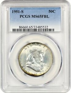 1951 S 50C PCGS MS65 FBL   FRANKLIN HALF DOLLAR