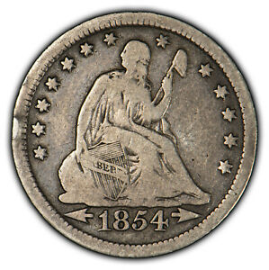 1854 25C SEATED LIBERTY SILVER QUARTER   ARROWS   MID GRADE VG COIN   SKU X1062