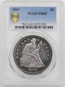 1867 LIBERTY SEATED S$1 PCGS PR 65