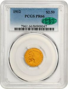 1912 $2 1/2 PCGS/CAC PR 66   2.50 INDIAN GOLD COIN   EXCEPTIONAL MATTE PROOF