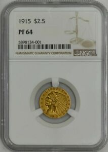 Click now to see the BUY IT NOW Price! 1915 $2 1/2 GOLD INDIAN $2.5 PF64 PR64 NGC 943307 1