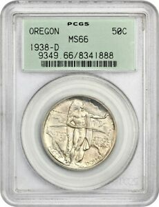1938 D OREGON 50C PCGS MS66   LOW MINTAGE ISSUE    OLD GREEN LABEL HOLDER