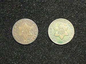 1852 & 1853 3 CENT SILVER TRIMES.  SEE PICS FOR CONDITION