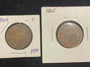 CIVIL WAR ERA COINS 1864 & 1865 TWO CENT PIECES SEE PICS FOR CONDITION  003