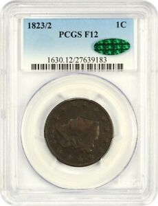 1823/2 1C PCGS/CAC F12   CORONET HEAD LARGE CENTS  1816 1839     DATE
