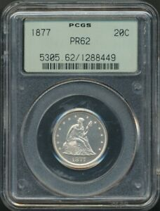 Click now to see the BUY IT NOW Price! 1877 PROOF TWENTY 20 CENT PIECE PCGS PR 62 LOW MINTAGE OF 510  OLD GREEN LABEL