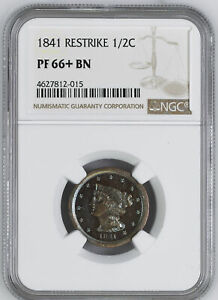 Click now to see the BUY IT NOW Price! 1841 BRAIDED HAIR 1/2C NGC PR 66  BN