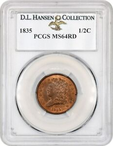 Click now to see the BUY IT NOW Price! 1835 1/2C PCGS MS64 RD EX: D.L. HANSEN   CHOICE HALF CENT   CHOICE HALF CENT