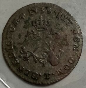 FRENCH COLONIES DOUBLE SOL / SOUS MARQUE 1739 T NANTE FILLED 7 & 9 & LG CUD  VF