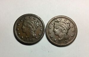 1848 & 1849 PAIR OF LARGE  CENTS DECENT GRADE COINS