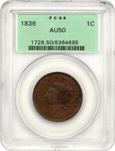 1836 1C PCGS AU50 BN   CORONET HEAD LARGE CENTS  1816 1839