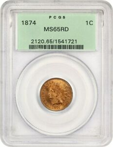 1874 1C PCGS MS65 RD  OGH    OLD GREEN LABEL HOLDER   INDIAN CENT