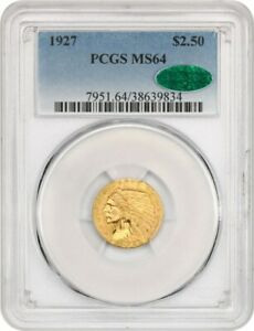 1927 $2 1/2 PCGS/CAC MS64   2.50 INDIAN GOLD COIN