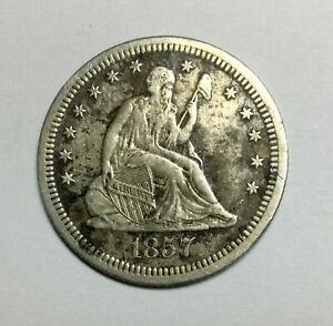 Click now to see the BUY IT NOW Price! 1857S SEATED LIBERTY  QUARTER DOLLAR SOLID MID GRADE DETAILS OLD CLEANING