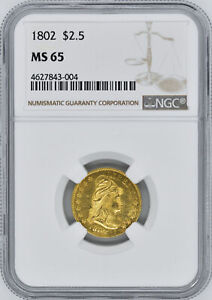 Click now to see the BUY IT NOW Price! 1802 DRAPED BUST $2.5 NGC MS 65