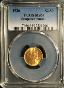 :1926 G$2.5 SESQUICENTENNIAL COMMEMORATIVE GOLD 2.5 DOLLAR PCGS SELECT MS 64