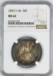Click now to see the BUY IT NOW Price! 1847/6 LIBERTY SEATED 50C NGC RA 62 W