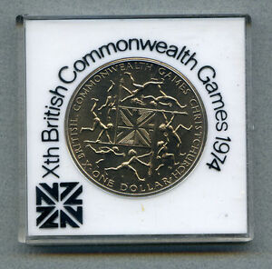 NEW ZEALAND $1 1974 BRILLIANT UNCIRCULATED KM 44 COMMONWEALTH GAMES CASED