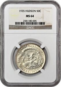 1935 HUDSON 50C NGC MS64   LOW MINTAGE ISSUE   SILVER CLASSIC COMMEMORATIVE