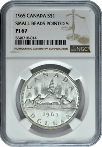 Click now to see the BUY IT NOW Price! :1965 S1$ DOLLAR ELIZABETH II CANADA KM65.1 NGC PL 67 SMALL BEADS POINT 5 TYPE1