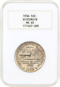 1936 WISCONSIN 50C NGC MS65  OH    OLD NGC HOLDER   SILVER CLASSIC COMMEMORATIVE