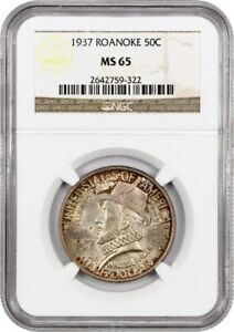 1937 ROANOKE 50C NGC MS65   COLORFUL TONING   SILVER CLASSIC COMMEMORATIVE