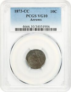 Click now to see the BUY IT NOW Price! 1873 CC 10C PCGS VG 10  ARROWS  LIBERTY SEATED DIME    CARSON CITY ISSUE