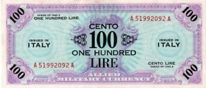 Click now to see the BUY IT NOW Price! 1943 A SERIES ITALY 100 LIRE ALLIED MILITARY CURRENCY S/N A51992092A