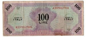 Click now to see the BUY IT NOW Price! 1943 SERIES ITALY 100 LIRE ALLIED MILITARY CURRENCY S/N A03781276A