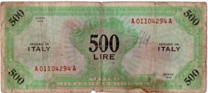 Click now to see the BUY IT NOW Price! 1943 SERIES ITALY 500 LIRE ALLIED MILITARY CURRENCY S/N A01104294A