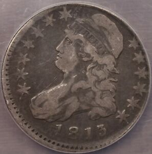 1813 O.104 R4 BUST HALF DOLLAR NGC VF DET OFF CENTER STRIKE DAVIDKAHNCOINS