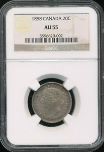 Click now to see the BUY IT NOW Price! 1858 CANADA SILVER 20 CENTS 20C NGC AU 55  SOME UNDERLYING MINT LUSTER VISIBLE