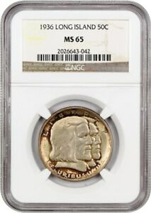1936 LONG ISLAND 50C NGC MS65   COLORFUL TONING   SILVER CLASSIC COMMEMORATIVE