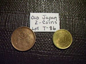 JAPAN OLD MONEY 2 COINS   1 SEN & 5 YEN FROM OLD JAPAN NICE COINS  LOT T 88