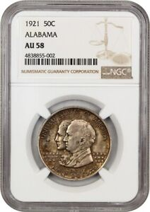 1921 ALABAMA 50C NGC AU58    ISSUE   SILVER CLASSIC COMMEMORATIVE