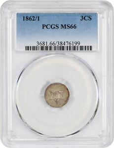 1862/1 3CS PCGS MS66   3 CENT SILVER   POPULAR OVERDATE